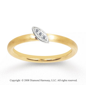 14k Two Tone Gold Diamond Marquise Shape Stackable Ring